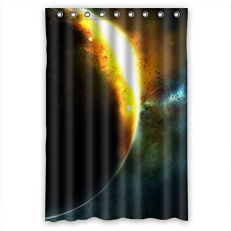 HelloDecor Cosmo Shower Curtain Polyester Fabric Bathroom Decorative Curtain Size 48x72 Inches