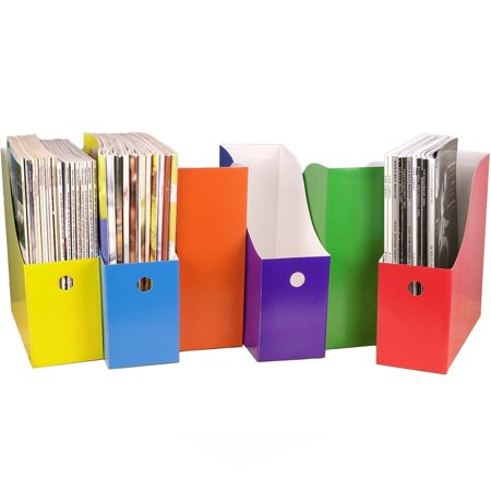 "Evelots Magazine File Holder-Organizer-Full 4"" W-6 Colors-W/Labels-Set/6"