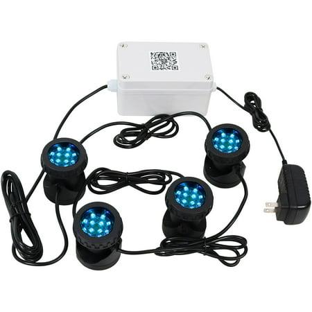Sunnydaze Outdoor Submersible Multi-Color LED Light Kit, Wi-Fi/Smart Phone App Controlled Smart Landscape Lights -