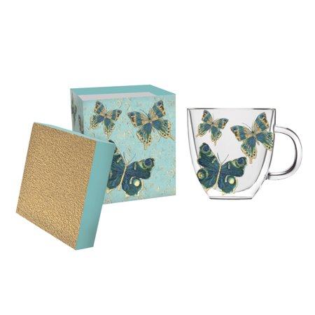 Cypress Home Butterfly Glass Coffee Cup, 12 ounces ()