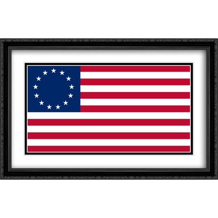 Betsy Ross 13 Star USA 2x Matted 40x26 Large Black Ornate Framed Art Print by The Flag Art Print (Betsy Ross 13 Star)