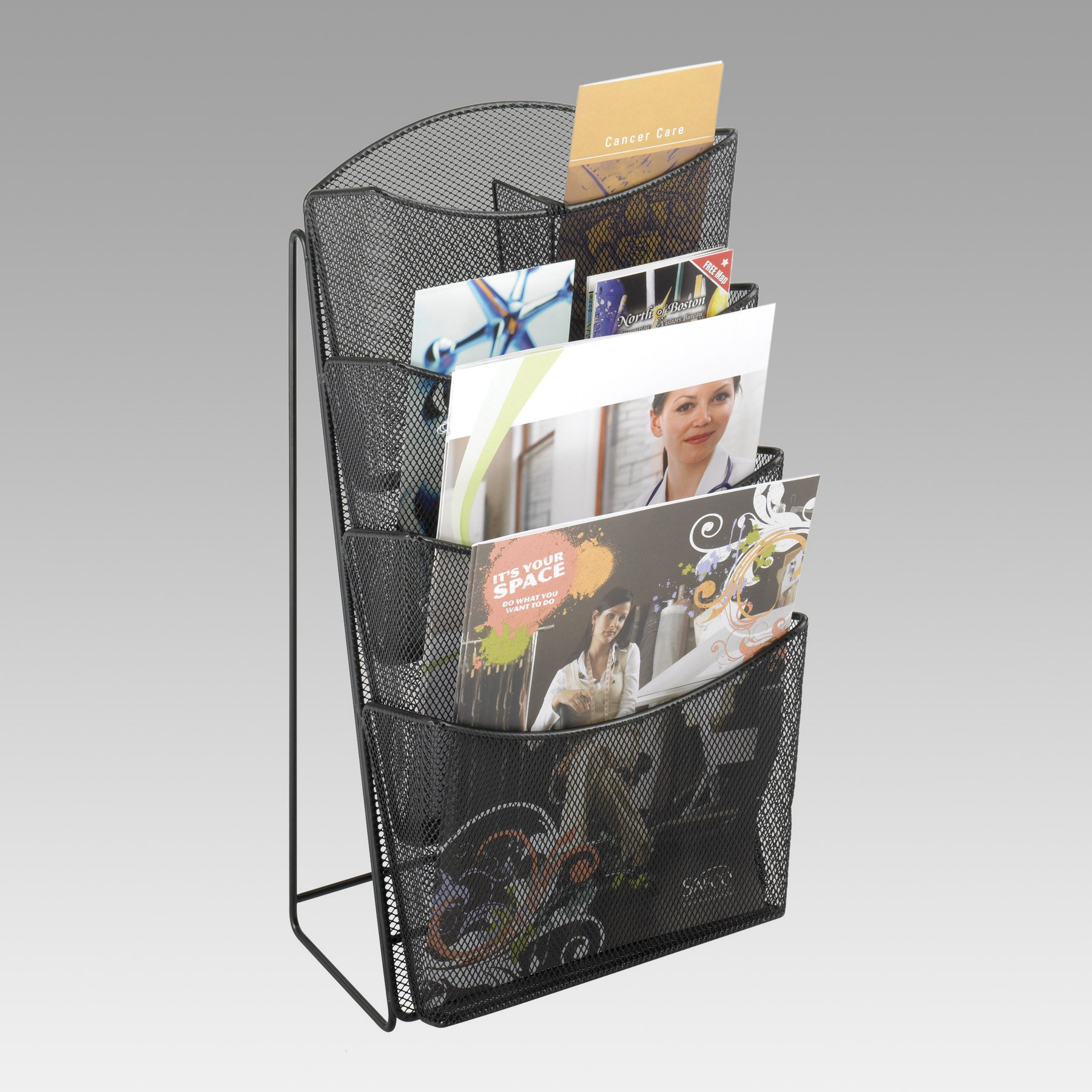 Onyx Mesh 4-Pocket Magazine Rack by Safco Products Co