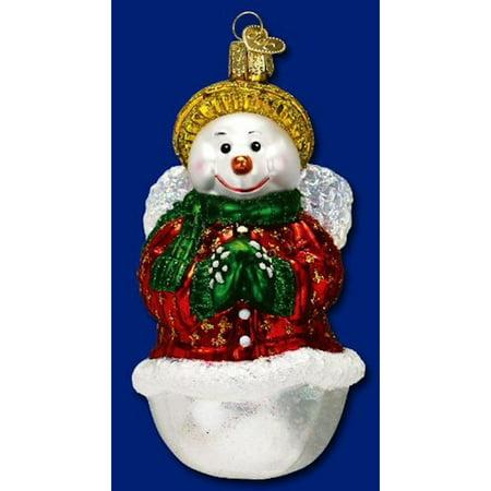 Old World Christmas Snow Angel Snowman Glass Ornament #10139 Angel Old World Christmas Ornament