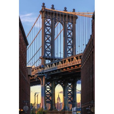 Usa, New York, Brooklyn, Dumbo, Manhattan Bridge and Empire State Building Print Wall Art By Michele Falzone