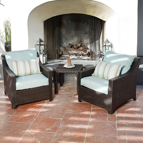 RST Brands Deco Club Chairs and Side Table Moroccan Cream with Sunbrella Deco Bi