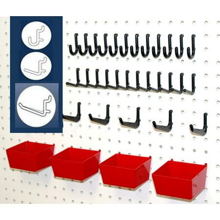 - WallPeg Pegboard Hooks, Plastic Pegboard Bins, 26 Pc. Kit Tool Holders Workbench