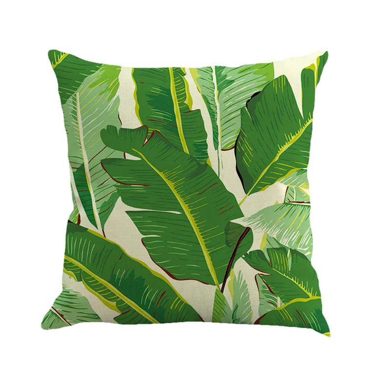 Comfortable Flax Pillow Case Tropical Plant Pattern Pillowcase Pillow Cover