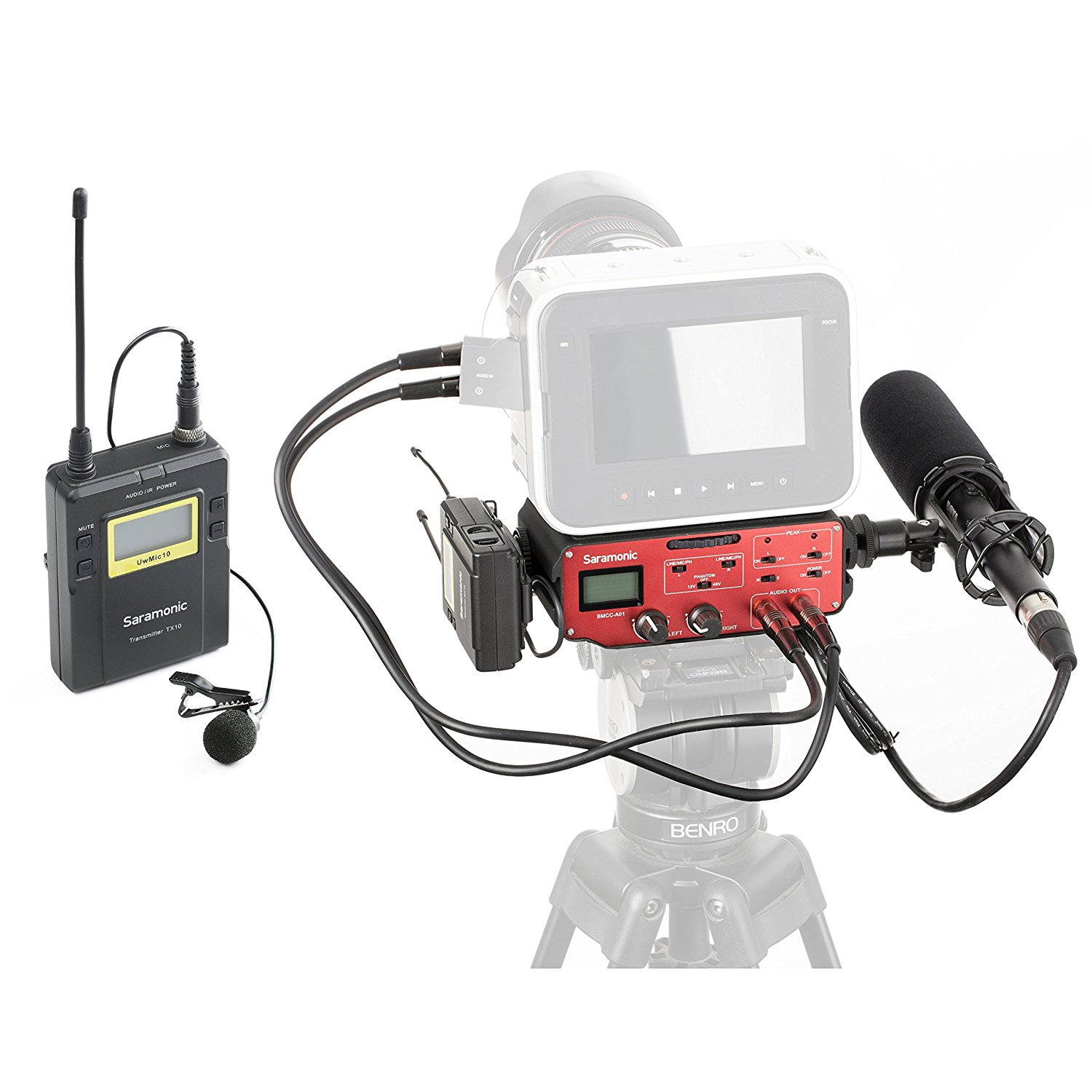 Saramonic BMCC Audio Kit: Shotgun Microphone, UHF Wireless Lavalier & 2-CH Mixer by Movo