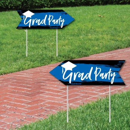 Blue Grad - Best is Yet to Come - Graduation Party Sign Arrow -Royal Blue Double Sided Directional Yard Signs - Set of