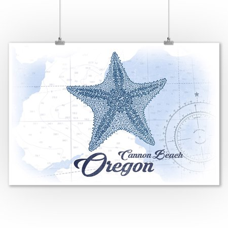 Cannon Beach, Oregon - Starfish - Blue - Coastal Icon - Lantern Press Artwork (9x12 Art Print, Wall Decor Travel Poster) - Halloween Cannon Beach