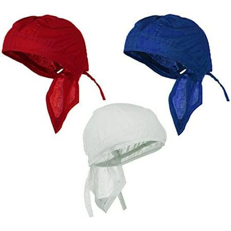 Doo-Rag Bundle Red White Blue Patriotic Flag Color Motorcycle Skull Caps Pack