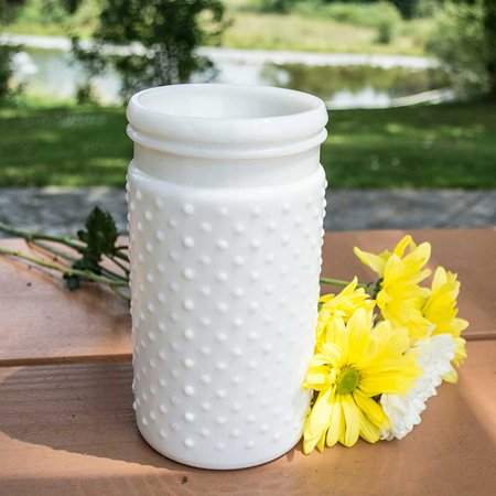 Vintage Hobnail White Milk Glass Jar Candle Holder Medium Antique