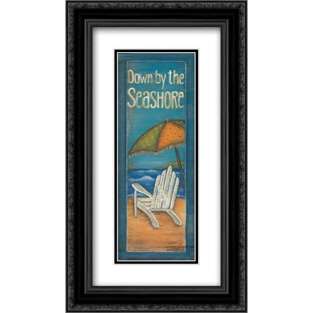 Down by the Seashore 2x Matted 14x24 Black Ornate Framed Art Print by Lewis,