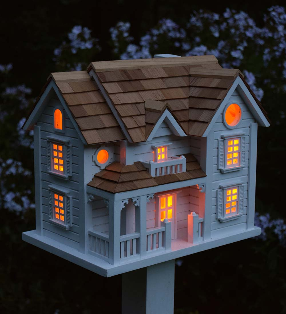 Kingsgate Cottage Lighted Birdhouse, White by Plow & Hearth