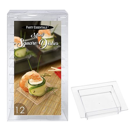 1 - Party Essentials Mini Square Dishes - Clear 12 Ct.