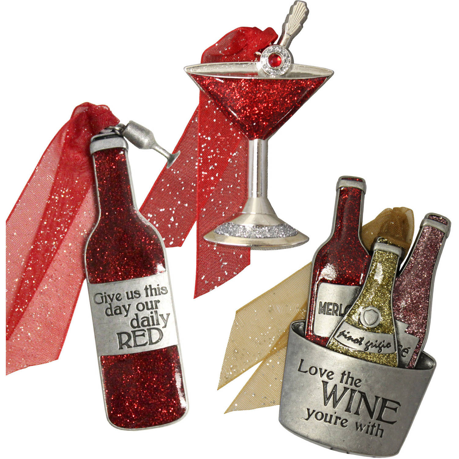 Gloria Duchin Cocktail Christmas Ornament 3-Piece Set
