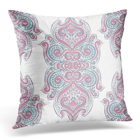 USART Floral Pink and Turquoise Elegant Classic Luxury Damask Victorian Baroque Great Any Desired Idea Vintage Throw Pillow Case Pillow Cover Sofa Home Decor 16x16 Inches