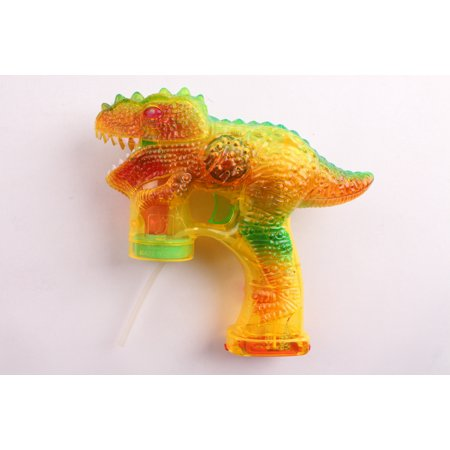 CoolToys Flashing Yellow Green Dinosaur Bubble Blaster Gun with 2 Bottles of Bubble Fluid | Exciting Light Up and Sound Effects | Mess-Free Bubble Blowing Guns for Kids