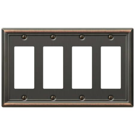 Quad 4-Gang GFCI Rocker Decora Wall Switch Plate, Oil Rubbed Bronze