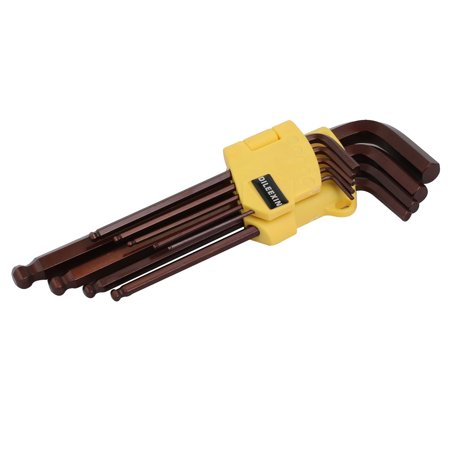"1/16""-3/8"" Inches S2 Tool Steel Long Arm 9-Piece Hex Key Wrench L-Wrench Set - image 4 of 4"