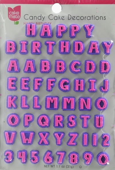 1.4 oz Cake Mate Candy Cake Decorations Alphabet