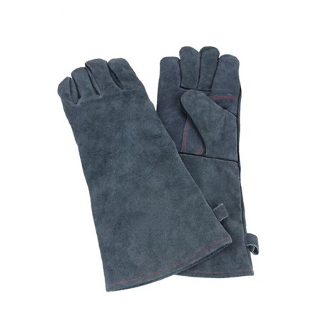 Heat Resistant Leather BBQ Gloves Best Protective Insulated Oven, Grill, Baking, Cooking Gloves Long Sleeve - Food Grade and Flexible for Men & Women (Gray)