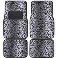 Carpeted 4 Piece Mat Leopard Animal Print Auto Car Vehicle Universal Fit (Gray)