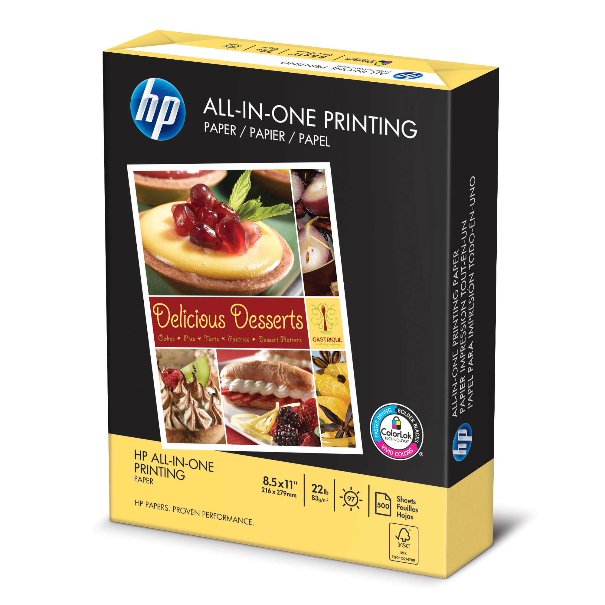 HP Paper, All-in-One Printing Paper Poly Wrap, 22 lb, 8.5 x 11, Letter, 96 Bright, 500 Sheets / 1 Ream (207010)