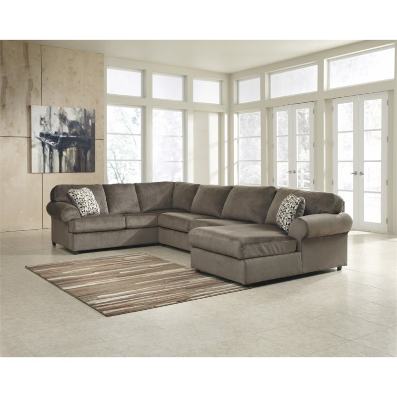 Flash Furniture Jessa Fabric Left Facing Sectional in Sand