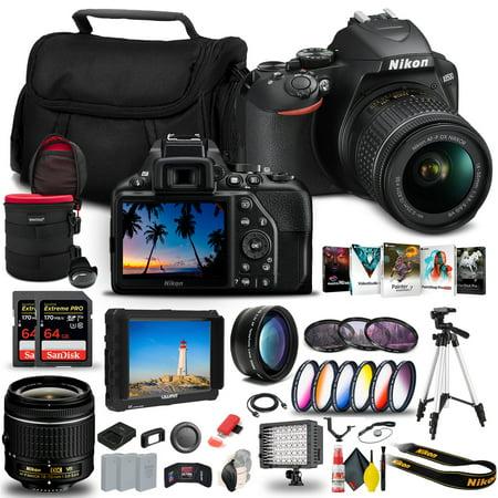 Nikon D3500 DSLR Camera with 18-55mm Lens (1590) + 4K Monitor + 2 x 64GB Extreme Pro Card + 2 x EN-EL14a Battery + Corel Photo Software + Pro Tripod + Case + Filter Kit + More - International Model