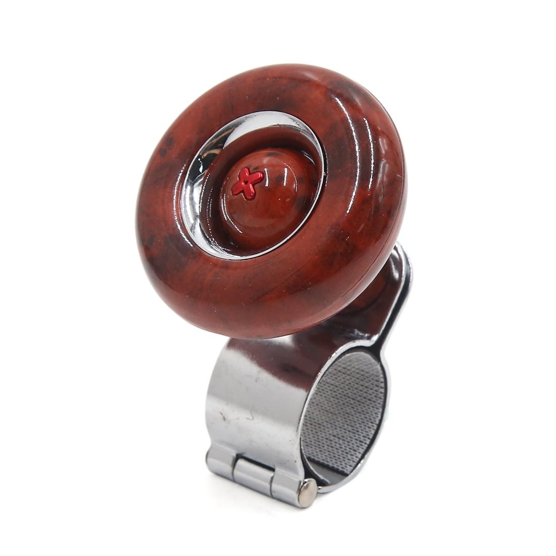 Brown Woodgrain Car Steering Wheel  Knob Power Handle Auxiliary Booster