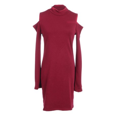 Length Cut Out - S/M Fit Maroon Red Cut Out Shoulders Midi Length Turtle Neck Dress