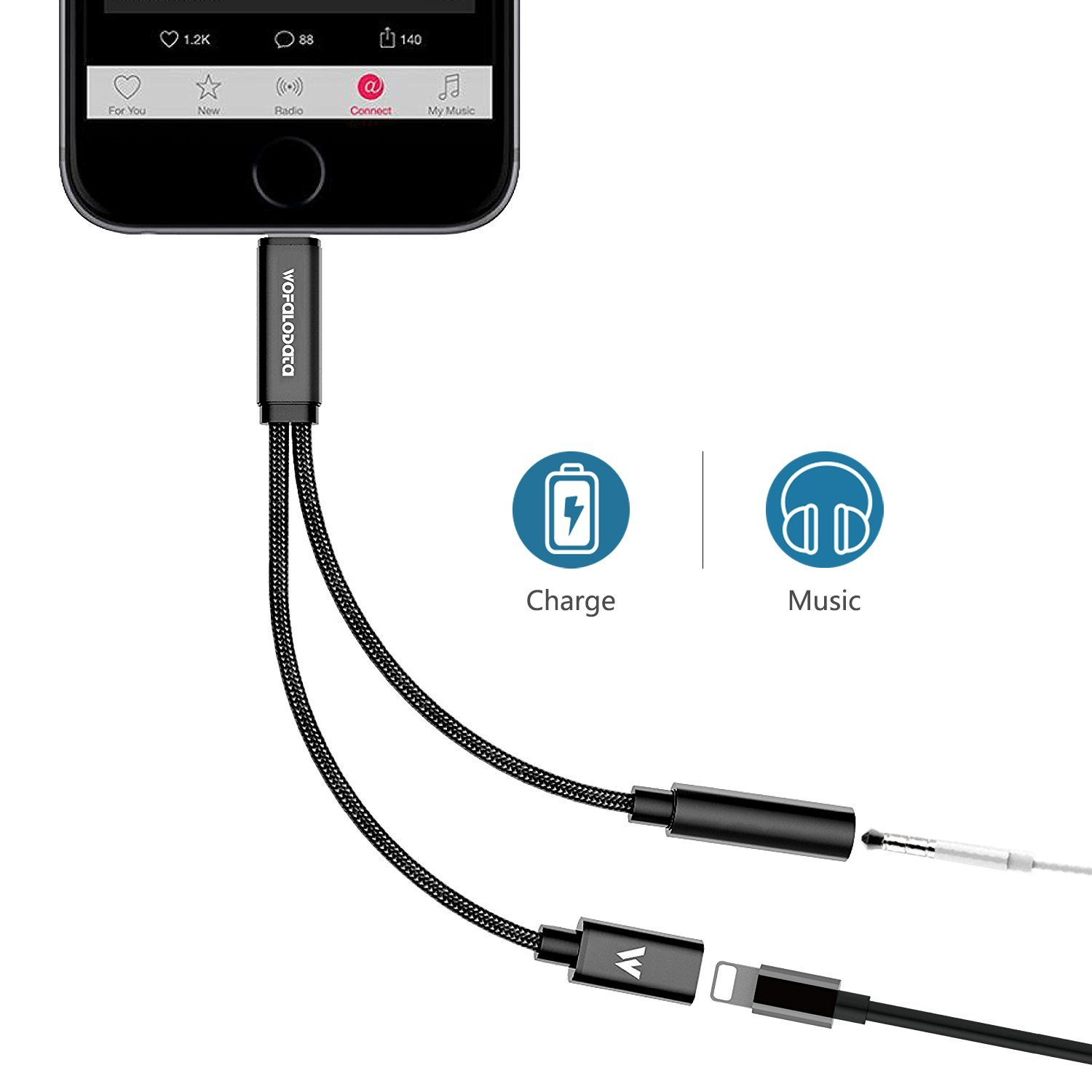 Wofalodata Lightning to 3.5mm Headphone Jack Audio Adapter for iPhone 8/8 Plus, Aux 3.5mm Audio and 2A Quick Charge Cable Adapter  for iPhone X (Black)