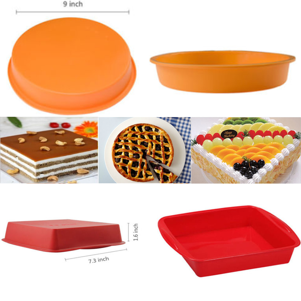 Silicone Square & Round DIY Cake Pan Mould ,iClover Bread Pizza Lasagna Baking Tray Bakeware Mold-Dishwasher, Oven, Microwave, Freezer Safe