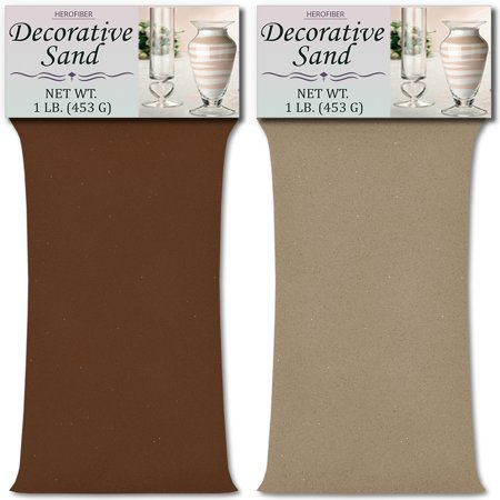HeroFiber Colored Unity Sand (2 lbs.) - Brown and Beach - 1 lbs. per Color - Decorative Art Sand for Weddings, Vase Filling, Kids' Craft - Beach Wedding Colors