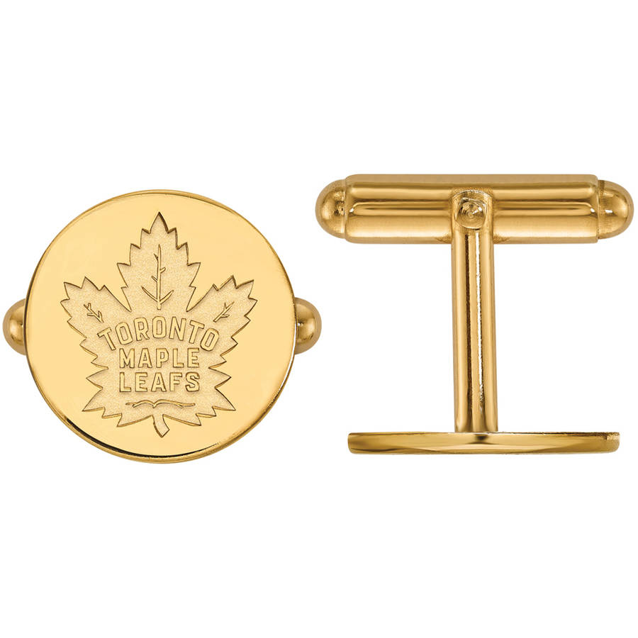 LogoArt NHL Toronto Maple Leafs 14kt Gold-Plated Sterling Silver Cuff Links