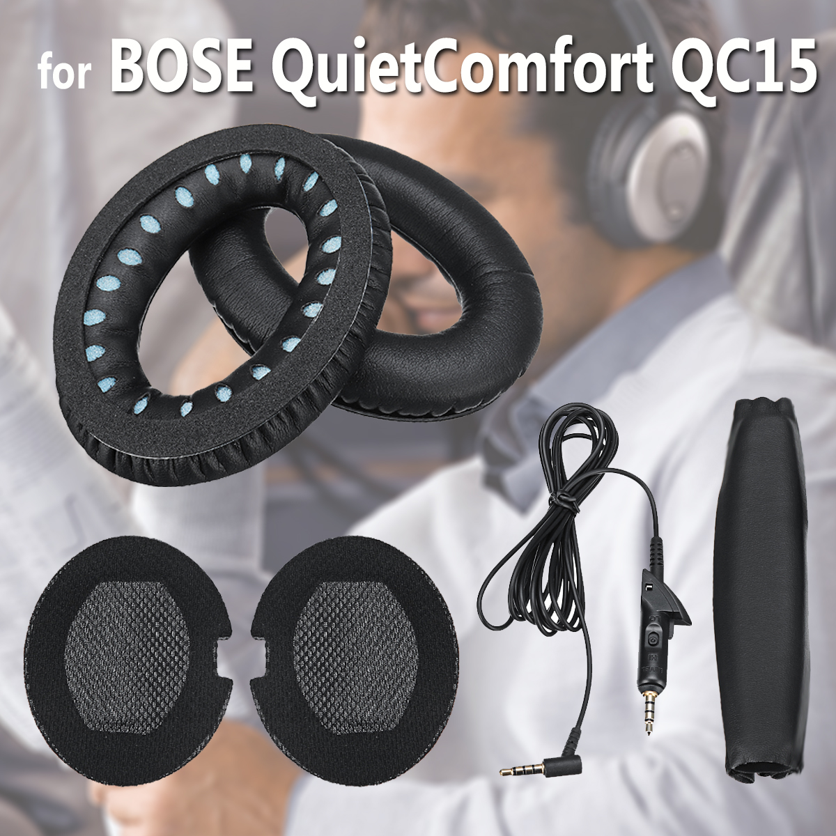 Replacement Ear Pads 5.5 FT Audio Cable Headband Set Ear Pad Cushions Ear Cups For Quiet Comfort QC15 (Black)