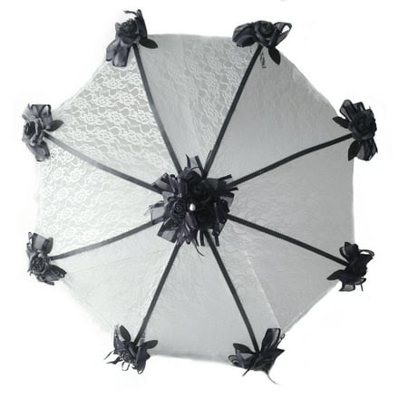 PFP Decorated Bridal Shower Wedding White Lace Umbrella Parasol 36