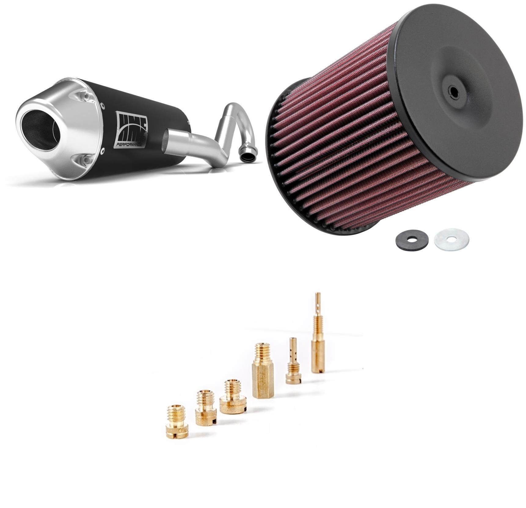 Basic Jet Kit, Air Filter & Black Performance-Series Full System Exhaust Euro-Polished for Yamaha YFZ 450 2012