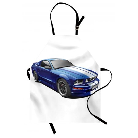 - Teen Room Apron American Auto Racing Theme Car Sports Competition Speed Winner Boys Kids Graphic, Unisex Kitchen Bib Apron with Adjustable Neck for Cooking Baking Gardening, Blue Grey, by Ambesonne
