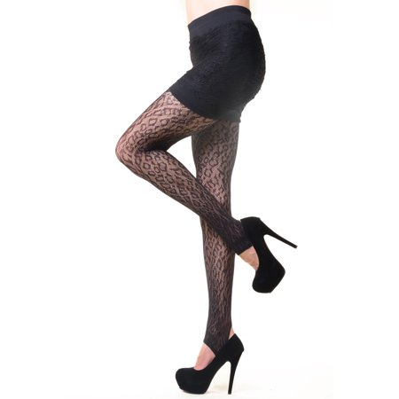 Women Fashion Design Cheetah Leopard Fishnet Tights, Black, O-S 100-140lbs