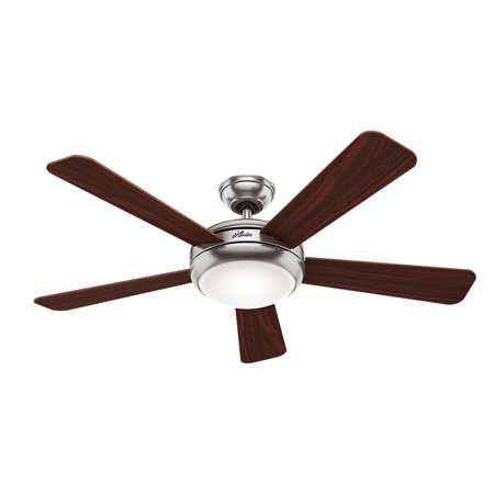 Hunter 52 Palermo Brushed Nickel Ceiling Fan With Light Handheld Remote