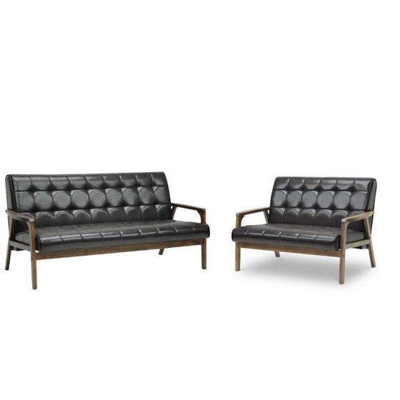 2 Piece Mid Century Modern Sofa Set with Sofa and Loveseat in Brown