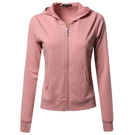 The French Terry Zip Hoody (FashionOutfit Women's A classic French Terry Zip Up Hoodie)