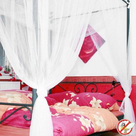 4 Corner Post Polyester Bed Canopy Mosquito Net Mesh Queen King Size White