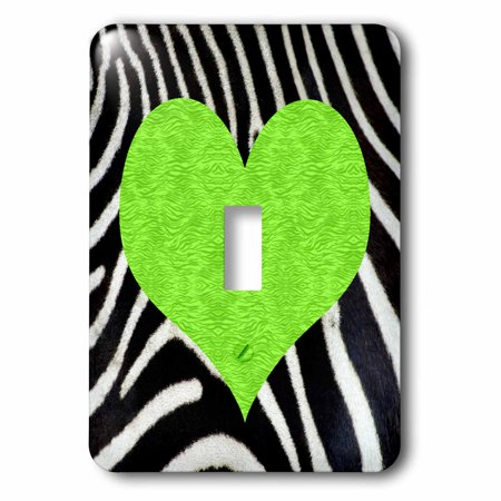 3dRose Punk Rockabilly Zebra Animal Stripe Green Heart Print - Single Toggle Switch -