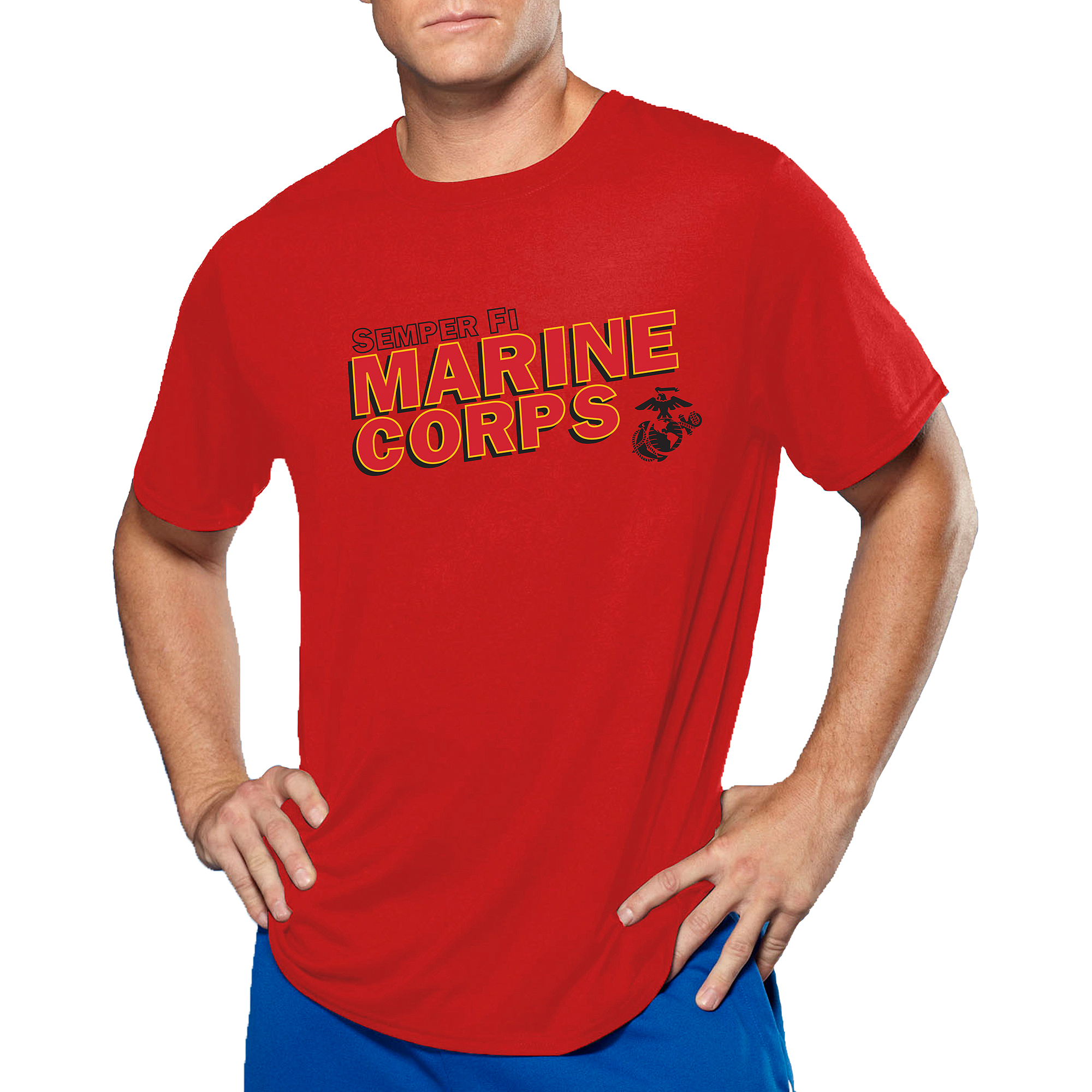 Men's Military Officially Licensed Marines Performance Comfort Wear Graphic Tee