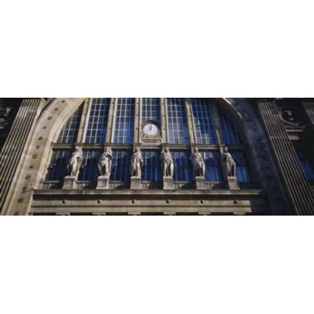 Low angle view of statues on a railroad station building Gare Du Nord Paris France Stretched Canvas - Panoramic Images (30 x