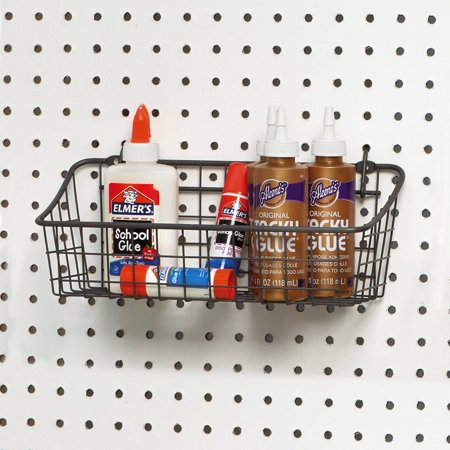 Spectrum Pegboard and Wall Mount Basket, Industrial Gray, Small