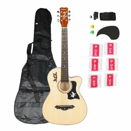 DK-38C Basswood Guitar Bag Straps Picks LCD Tuner Pickguard String Set Wood Color